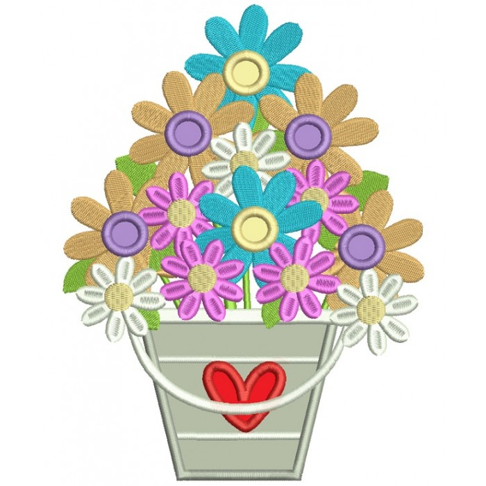 Basket With Flowers And Heart Applique Machine Embroidery Digitized Design Pattern