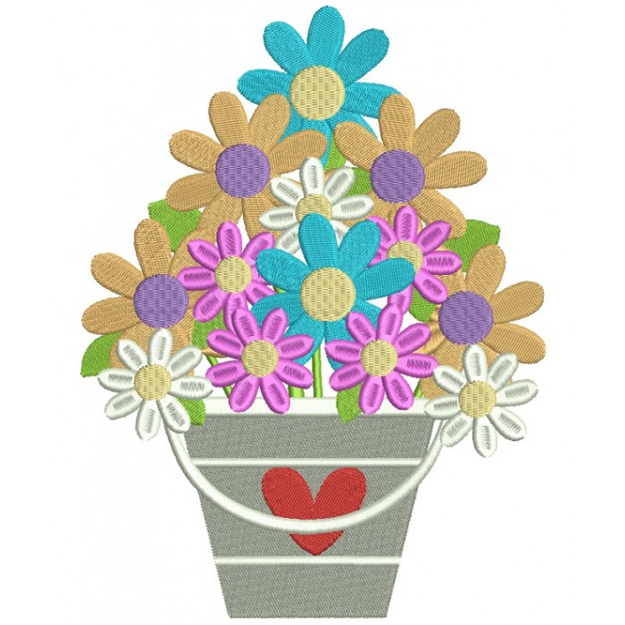 Basket With Flowers And Heart Filled Machine Embroidery Digitized Design Pattern