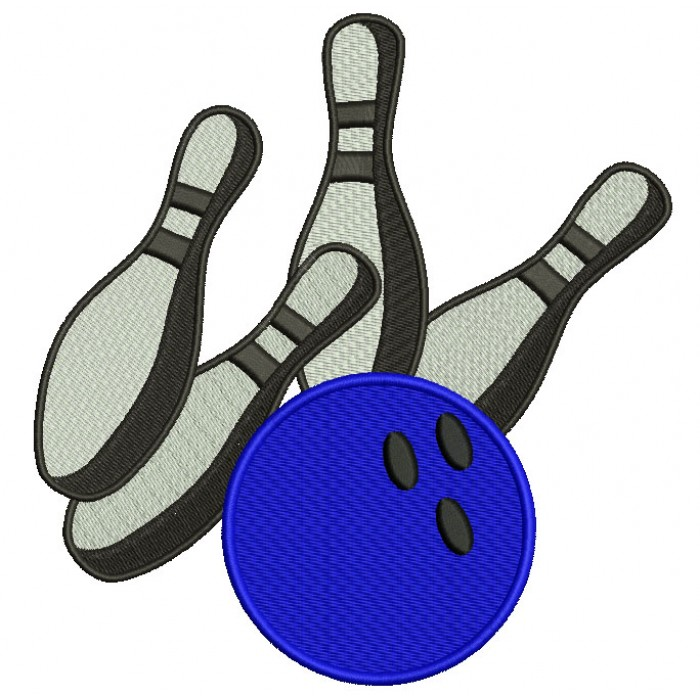 Bowling And Pins Filled Machine Embroidery Digitized Design Pattern