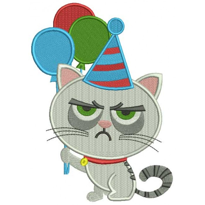 Cat That Looks Grumpy Holding Balloons Filled Machine Embroidery Design Digitized Pattern