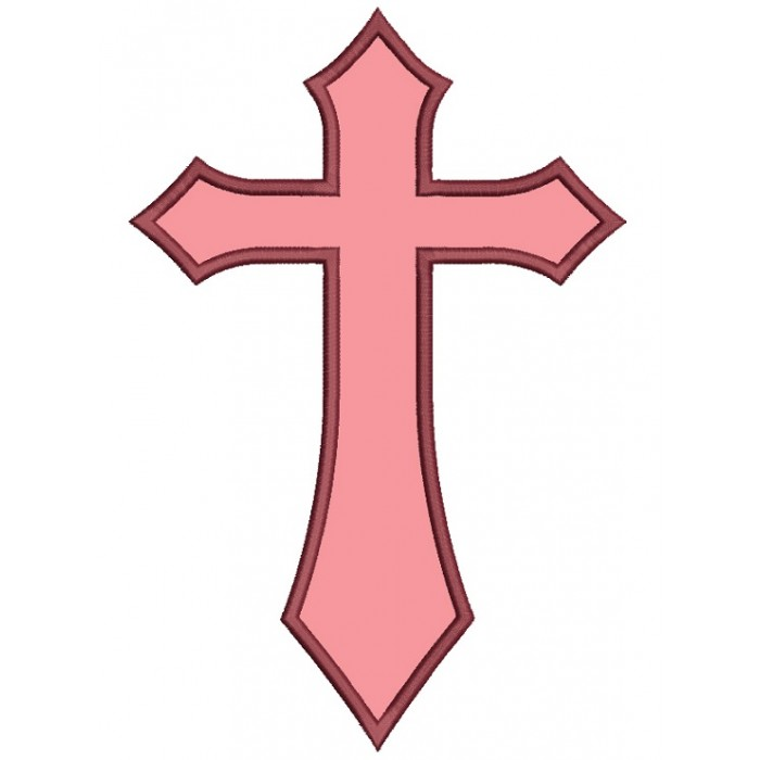 Cross Religious Catholic or Christian Applique Machine Embroidery Digitized Design Pattern