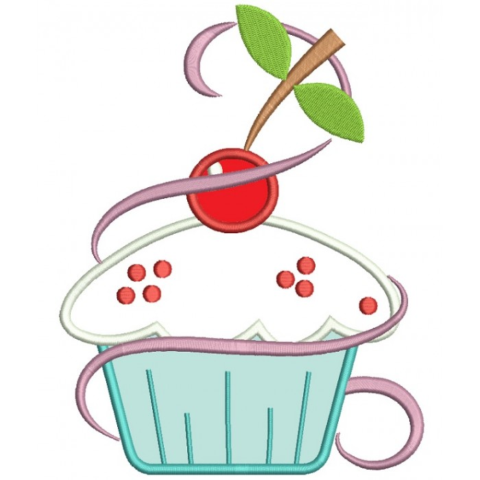 Cupcake With Cherry On Top Applique Machine Embroidery Digitized Design Pattern
