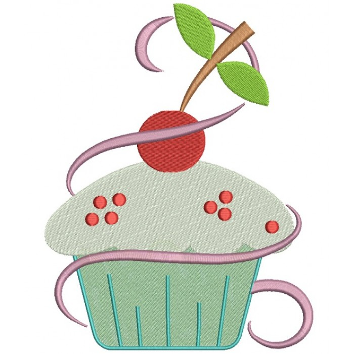 Cupcake With Cherry On Top Filled Machine Embroidery Digitized Design Pattern