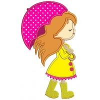 Cute Girl With an Umbrella Applique Machine Embroidery Digitized Design Pattern