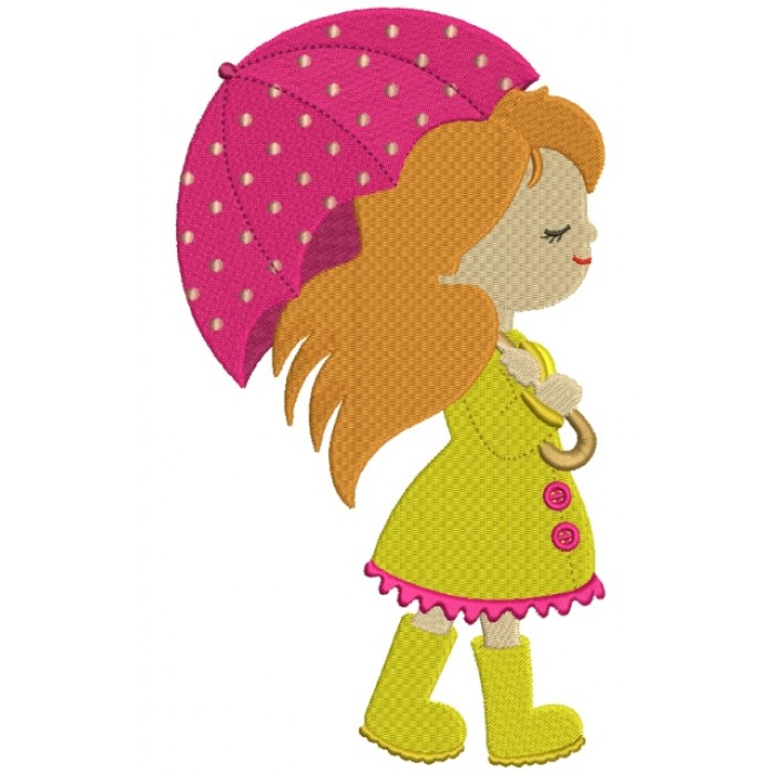 Cute Girl With an Umbrella Filled  Machine Embroidery Digitized Design Pattern