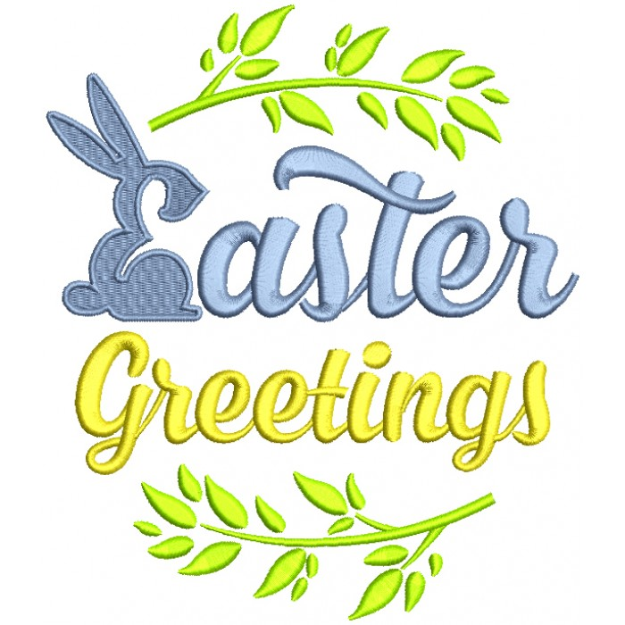 Easter Greetings  Bunny Filled Machine Embroidery Design Digitized Pattern