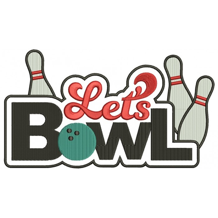 Lets Bowl Filled Machine Embroidery Digitized Design Pattern