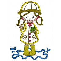 Little Girl Wearing Rain Coast Holding a Frog Applique Machine Embroidery Digitized Design Pattern
