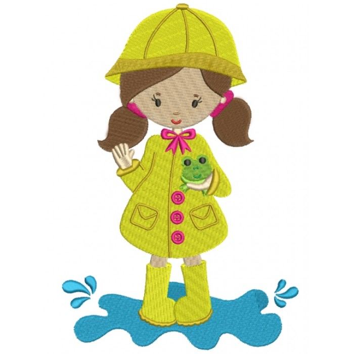 Little Girl Wearing Rain Coast Holding a Frog Filled Machine Embroidery Digitized Design Pattern