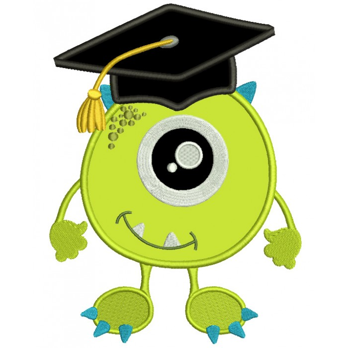 Little Monster Wearing Graduation Cap Looks Like Mike Wazowski From Monster's Inc Applique Machine Embroidery Design Digitized Pattern