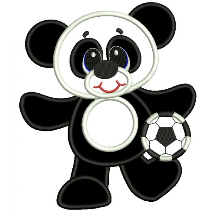 Panda Soccer Player Applique Machine Embroidery Digitized Design Pattern