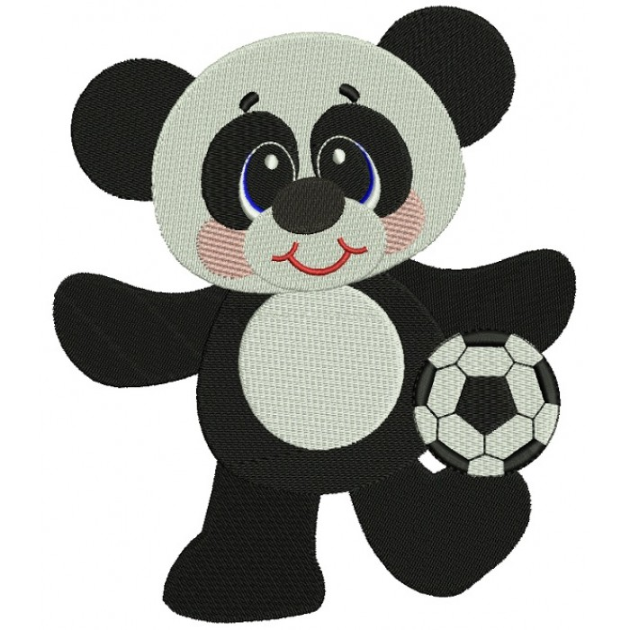 Panda Soccer Player Filled Machine Embroidery Digitized Design Pattern