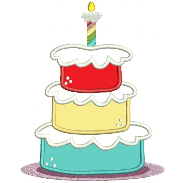Three Layered Birthday Cake Applique Machine Embroidery Digitized Design Pattern