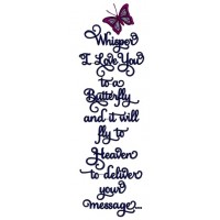 Whisper I love You Butterfly Applique Machine Embroidery Digitized Design Pattern