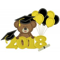 2018 Graduation Bear With Balloons Applique Machine Embroidery Design Digitized Pattern