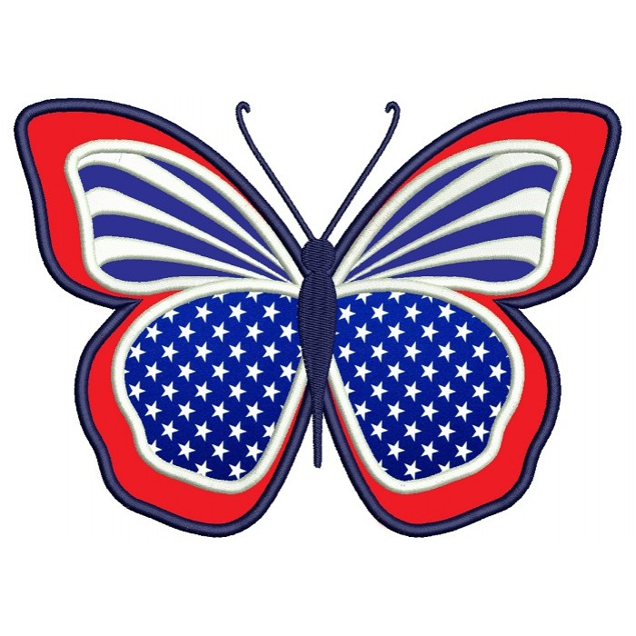 Butterfly American Flag 4th of July Independence Day Applique Machine Embroidery Digitized Design Pattern