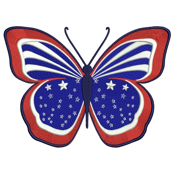 Butterfly American Flag 4th of July Independence Day Filled Machine Embroidery Digitized Design Pattern