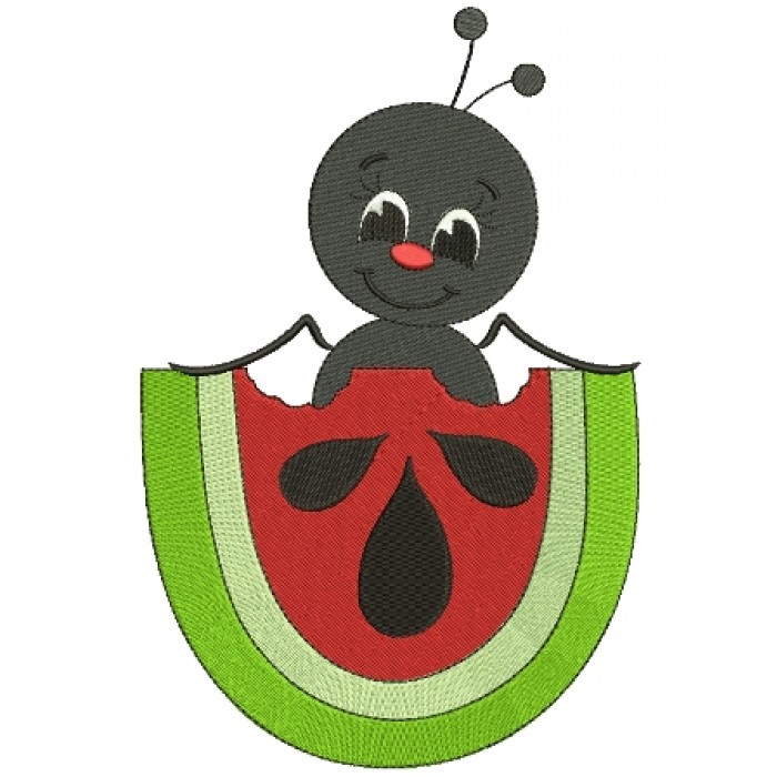 Cute Ant Inside Watermelon Insect Filled Machine Embroidery Digitized Design Pattern