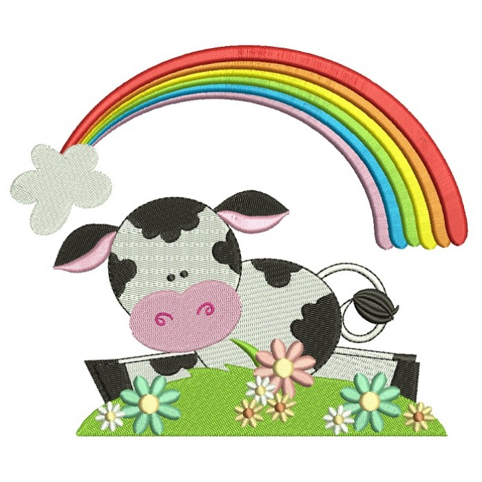 Cute Little Cow Under The Rainbow Filled Machine Embroidery Digitized Design Pattern