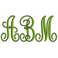 Large Fancy Monogram Embroidery Font Upper Case Satin Stitch Digitized -Instant Download-4,5,6 inch