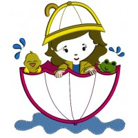 Girl And Chick In The Umbrella Floating In The Pond Applique Machine Embroidery Digitized Design Pattern
