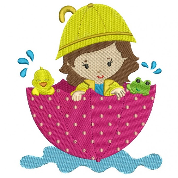 Girl And Chick In The Umbrella Floating In The Pond Filled Machine Embroidery Digitized Design Pattern