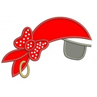 Girl Pirate Hat with an Eye Patch Applique Machine Embroidery Digitized Design Pattern