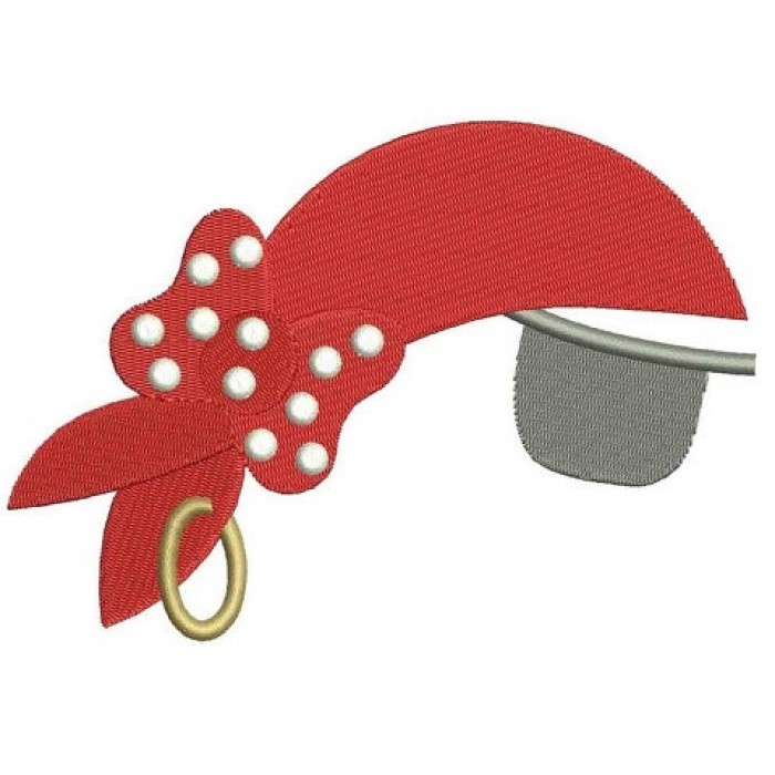 Girl Pirate Hat with an Eye Patch Filled Machine Embroidery Digitized Design Pattern