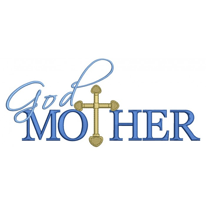 God Mother Christening Religious Cross Christian Catholic Filled Machine Embroidery Digitized Design Pattern