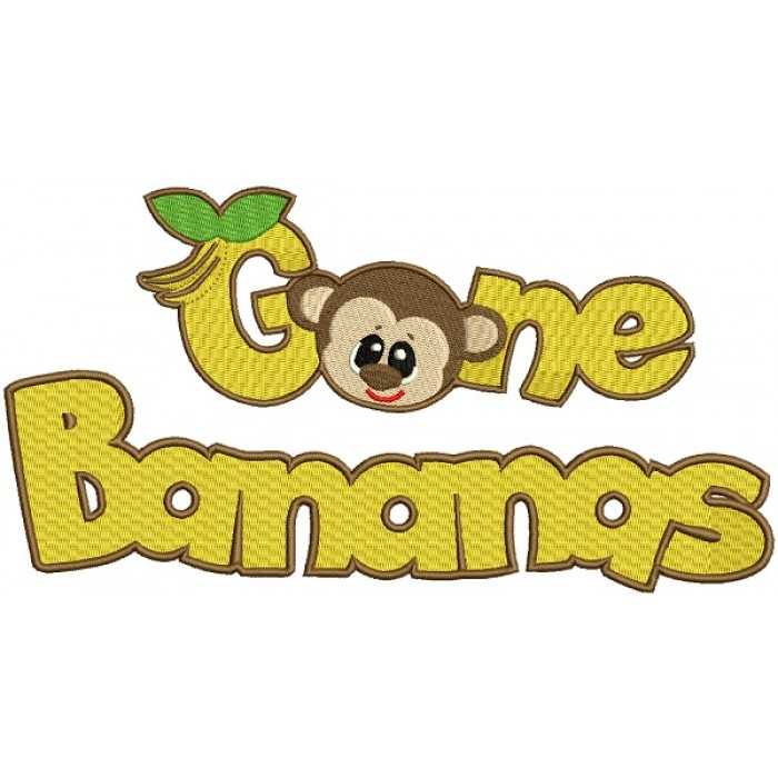 Gone Bananas Monkey Filled Machine Embroidery Design Digitized Pattern