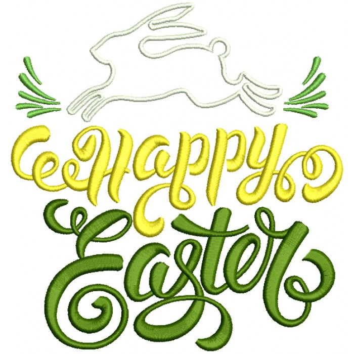 Happy Easter Running Bunny Applique Machine Embroidery Design Digitized Pattern