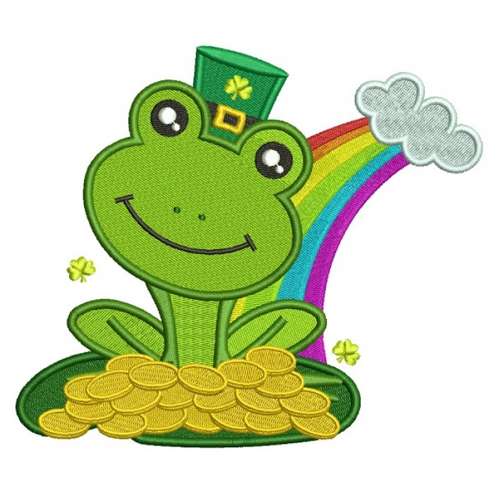 Lucky Frog Holding Gold Coins St. Patrick's Day Filled Machine Embroidery Design Digitized Pattern