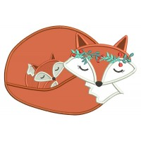 Mommy and Baby Fox Applique Machine Embroidery Design Digitized Pattern