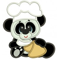 Panda Cook Applique Machine Embroidery Digitized Design Pattern