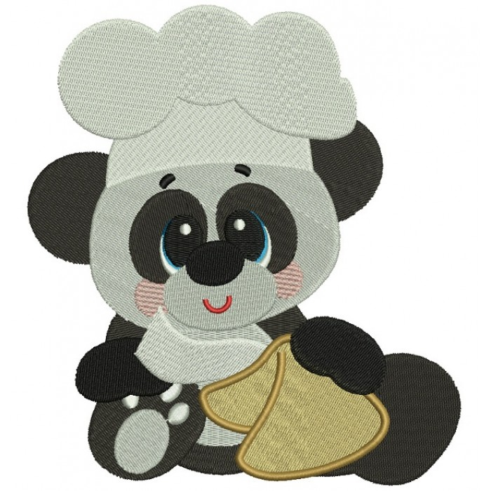 Panda Cook Filled Machine Embroidery Digitized Design Pattern