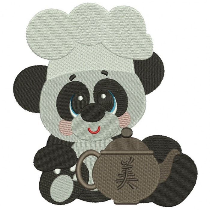 Panda Cook With Tea Kettle Filled Machine Embroidery Digitized Design Pattern