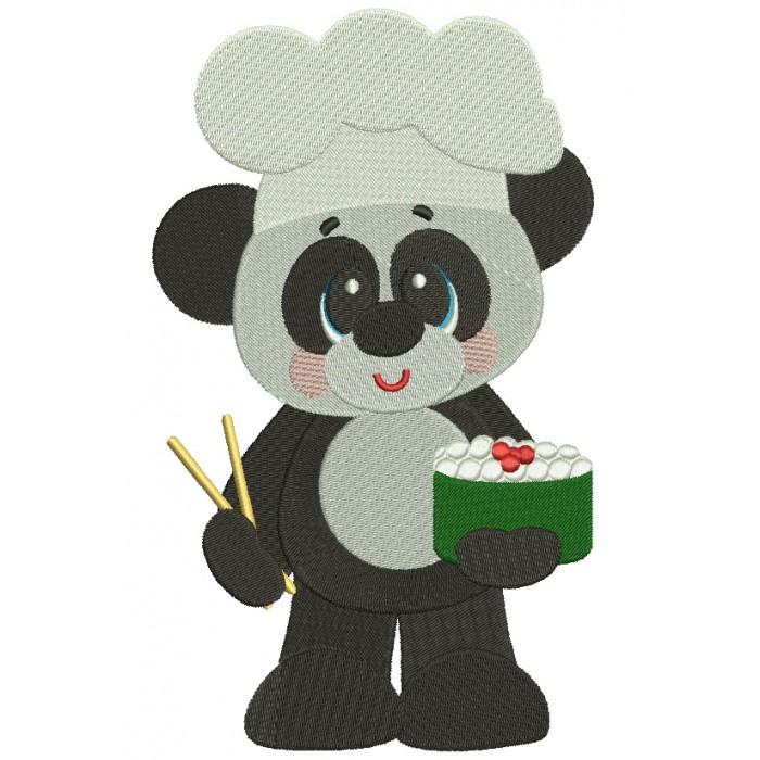 Panda Sushi Kitchen Cook Filled Machine Embroidery Digitized Design Pattern