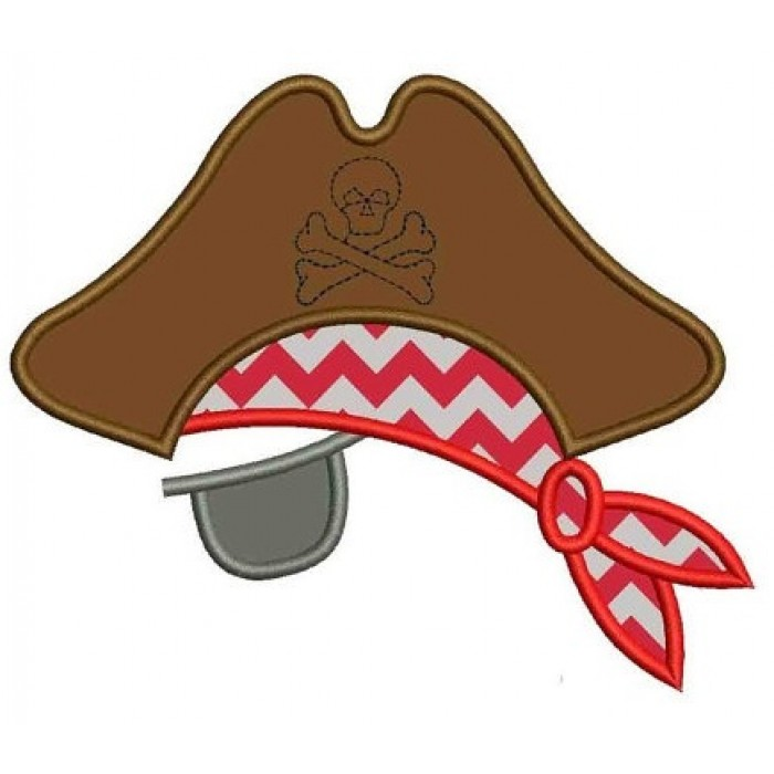 Pirate Hat with an Eye Patch Applique Machine Embroidery Digitized Design Pattern