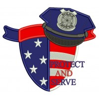 Protect And Serve Police Officer Applique Machine Embroidery Digitized Design Pattern