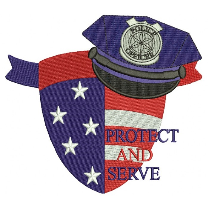 Protect And Serve Police Officer Filled Machine Embroidery Digitized Design Pattern