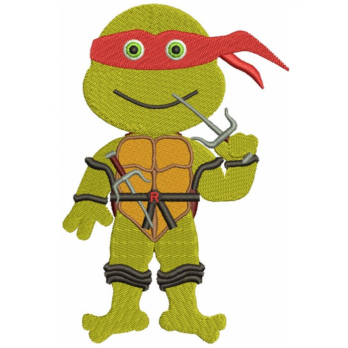Raphael Teenage Ninja Turtle Filled Machine Embroidery Design Digitized Pattern