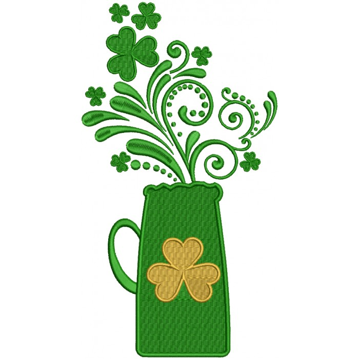 St. Patrick's Vase With Shamrock Filled Machine Embroidery Design Digitized Pattern