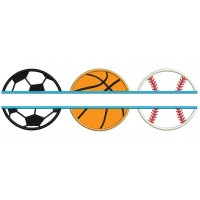 Baseball Basketball and Soccer Ball Split Sports Applique Machine Embroidery Digitized Design Pattern