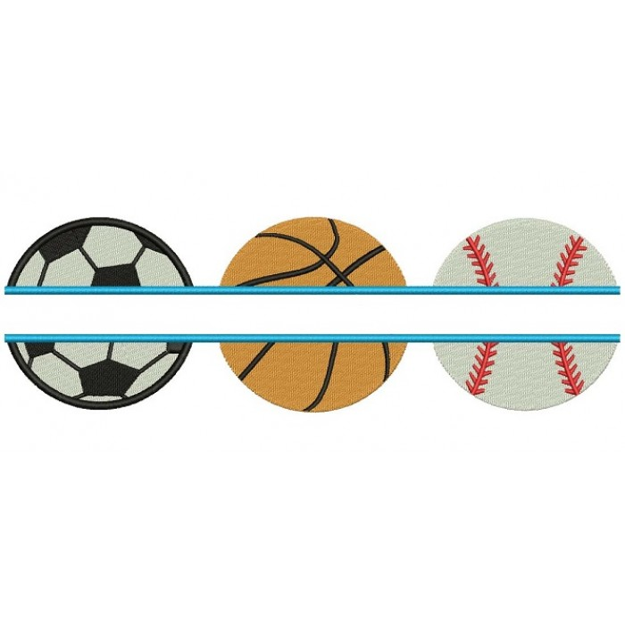 Baseball Basketball and Soccer Ball Split Sports Filled Machine Embroidery Digitized Design Pattern