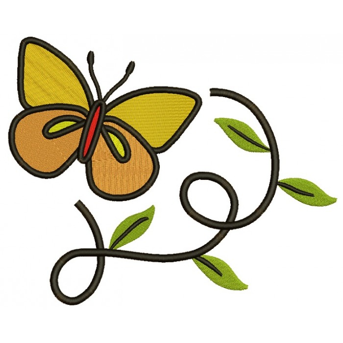 Butterfly flying over leaves Filled Machine Embroidery Digitized Design Pattern