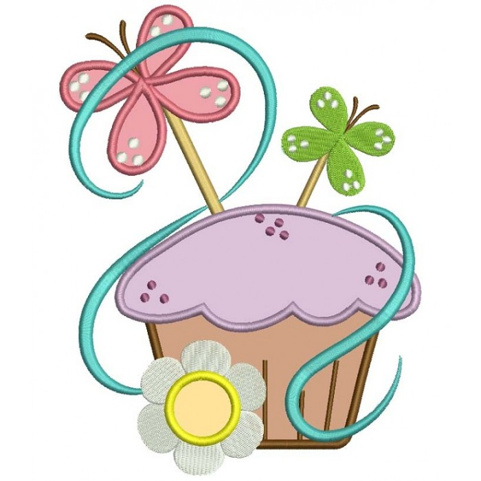 Cute Cupcake with Butterfly Applique Machine Embroidery Digitized Design Pattern
