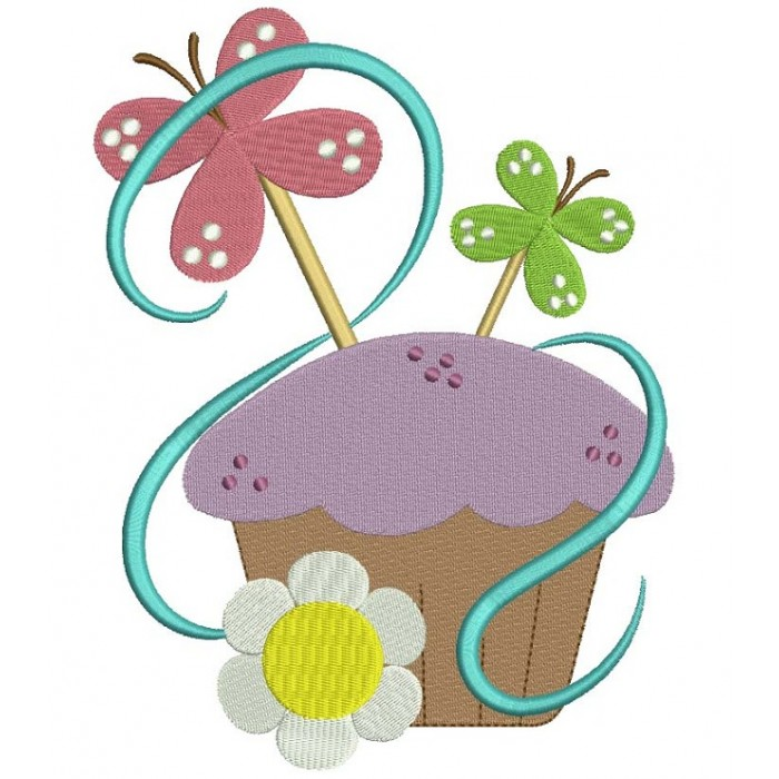Cute Cupcake with Butterfly Filled Machine Embroidery Digitized Design Pattern