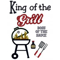 King of the Grill BBQ Applique Machine Embroidery Digitized Design Pattern
