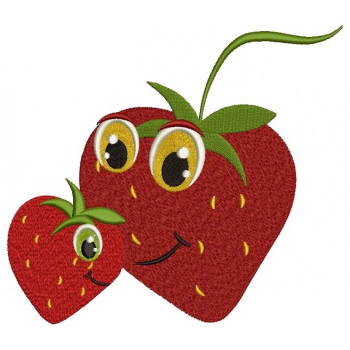 Momy and Me Cute Strawberry Filled Machine Embroidery Digitized Design Pattern