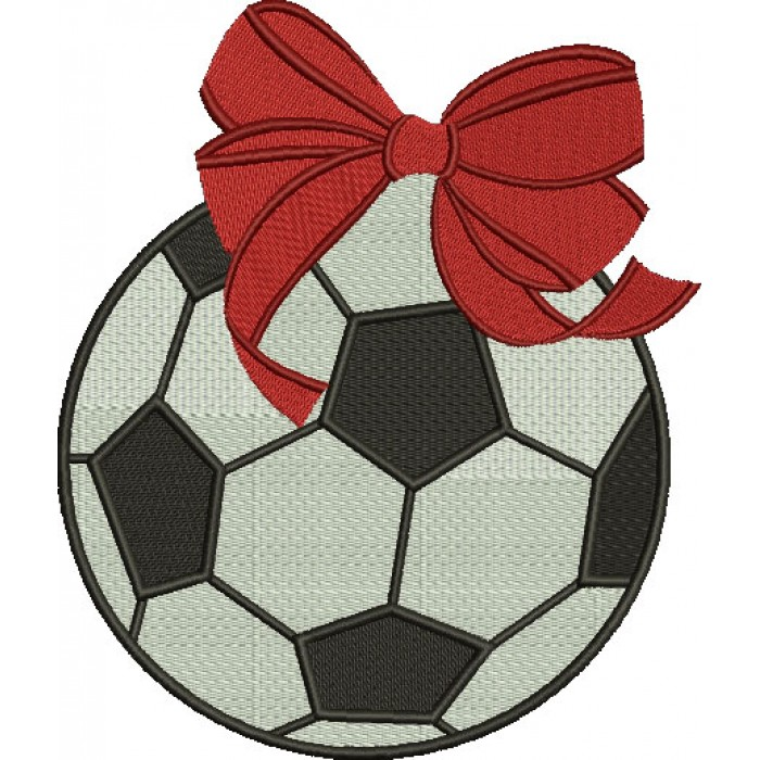 Soccer Ball Girl Filled Machine Embroidery Digitized Design Pattern